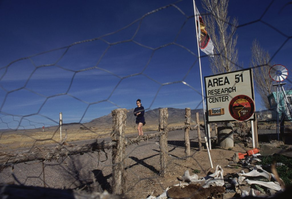 The CIA has acknowledged the existence of Area 51 in newly declassified documents which detail the previously unacknowledged area in the Nevada desert that has long been the subject of conspiracy theories about alien autopsies and extraterrestrial life. The report makes no mention of alines, but show the site was a government testing ground for surveillance during the Cold War. Area 51 has inspired many Hollywood movies. Pictured are general views of the surrounding area and desert, and some of the businesses that were established there to cater to 'alien tourists'. Pictured: Rachel, Nevada: Area 51 research center Ref: SPL594228 160813 Picture by: Corbis / Splash News Splash News and Pictures Los Angeles: 310-821-2666 New York: 212-619-2666 London: 870-934-2666 photodesk@splashnews.com