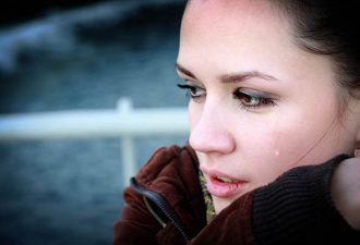 Crying beautiful woman photo