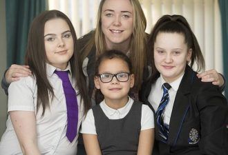 Sam Menzies with her sister's children - (L TO R) Sophie, Tiana and Ellie  / re: Sam Menzies who has stepped in to raise her sister's children. Her sibling Karina Menzies died in 2012 when struck by a van in Cardiff aged 31 and left behind three daughters Sophie, Ellie and Tiana    / Source: Lucy Laing