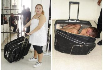 In a combination of handout photographs, Maria del Mar Arjona Rivero (L), 19, is seen holding the suitcase in which she tried to smuggle her partner Juan Ramirez Tijerina out of the prison where he was serving a sentence for unspecified federal crimes, and Ramirez Tijerina (R) is seen inside the suitcase after being discovered by prison guards in Chetumal July 2, 2011. According to prison officials Ramirez Tijerina was discovered hiding inside the suitcase as Arjona Rivero  left the building following a conjugal visit. Arjona Rivero was arrested for the attempt. REUTERS/Government of Quintana Roo-Secretary of State for Public Security/Handout