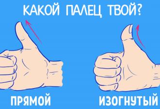 Угол изгиба большого пальца расскажет всё о тебе!