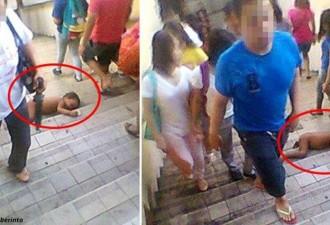 Младенец лежит на ступенях — и всем все равно!