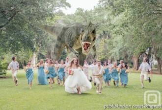 Модное направление свадебной фотографии: тиранозавры и трансформеры на свадьбе (7 фото)