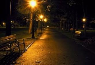 Гуляла поздним вечером в парке
