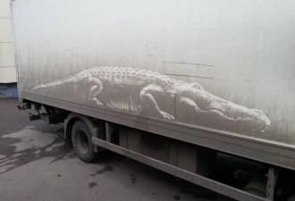 Российский художник создаёт на грязных авто настоящие произведения искусства (9 фото)