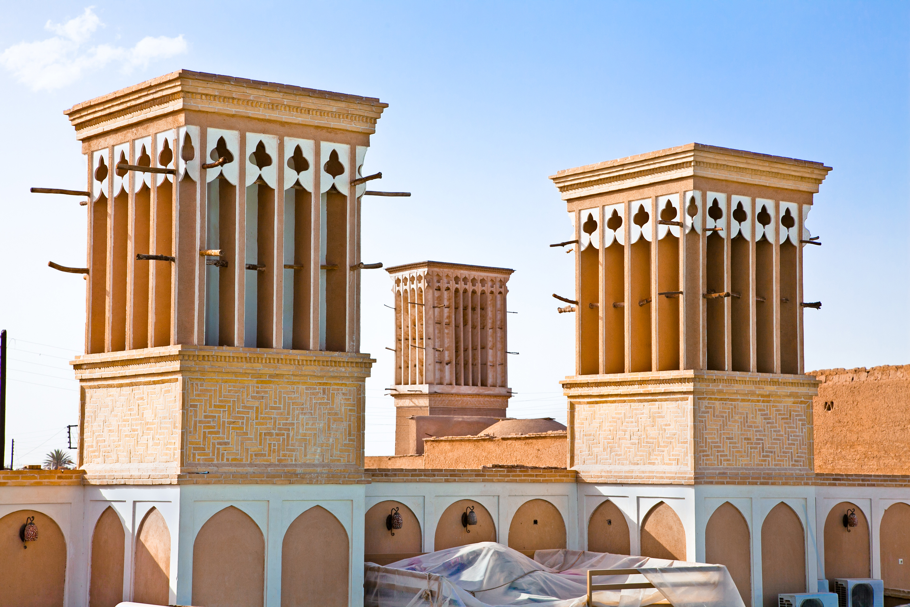 Windcatcher of an house in Yazd city, Iran