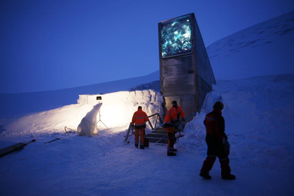 "The Svalbard Global Seed Vault is seen Monday Feb. 25, 2008 in Longyearbyen, Norway. A ""doomsday"" vault built to withstand an earthquake or nuclear strike is ready to open deep in the permafrost of an Arctic mountain, where it will protect millions of agriculture seeds from man-made and natural disasters. The vault is to be officially inaugurated on Tuesday, less than year after crews started drilling in Norway's Svalbard archipelago, about 1,000 kilometers (620 miles) from the North Pole. The vault has the capacity to store 4.5 million seed samples from around the globe, shielding them from climate change, wars, natural disasters and other threats. (AP Photo/John McConnico)"