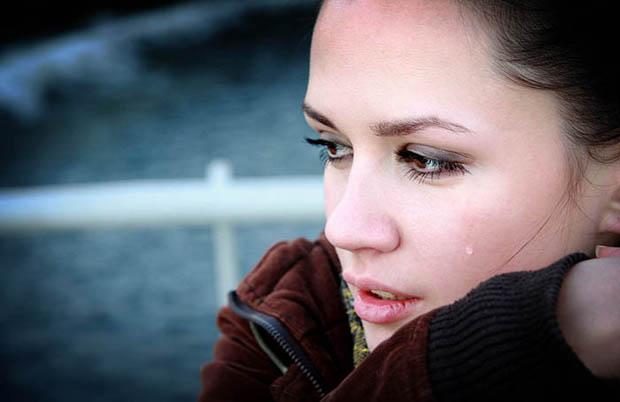 Crying beautiful woman photo