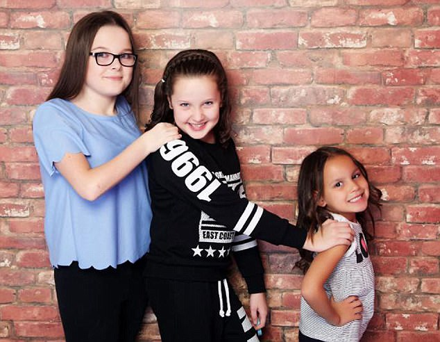 (L TO R) Sophie, Ellie, Tiana / re: Sam Menzies who has stepped in to raise her sister's children. Her sibling Karina Menzies died in 2012 when struck by a van in Cardiff aged 31 and left behind three daughters Sophie, Ellie and Tiana / Source: Lucy Laing