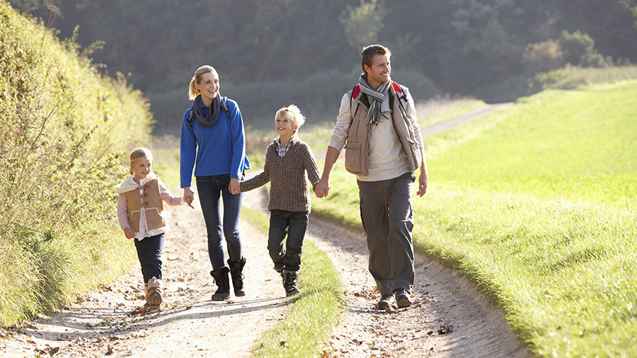 Young family walking in park; Shutterstock ID 68251960