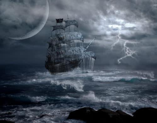 Рис.2: Парусник в шторм