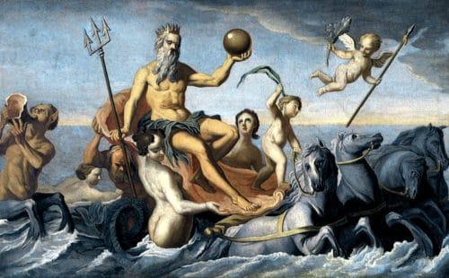 Рисунок 2. Посейдон в своей колеснице с крылатыми конями.